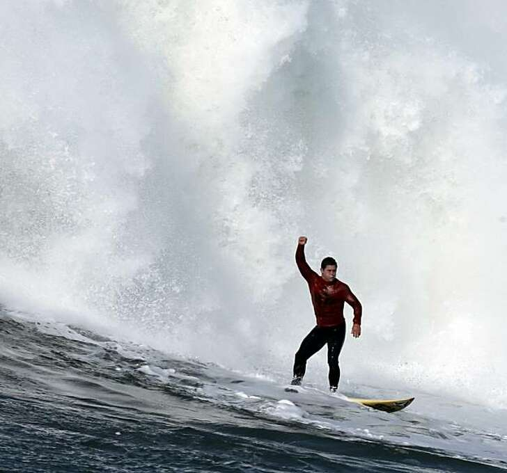 Dave Wassel reacts to a good ride in the fifth heat. Surfers from around the globe braved the 50-foot-high swells at Mavericks Surf Contest in Half Moon Bay, Calif., on Saturday, February 13, 2010. Chris Bertish of South Africa was selected the winner. Photo: Carlos Avila Gonzalez, The Chronicle