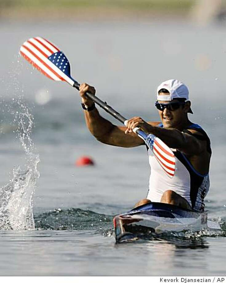 Rami Zur paddles to finish third in his Kayak single 500m men heats at the Beijing 2008 Olympics Tuesday, Aug. 19, 2008. Photo: Kevork Djansezian, AP