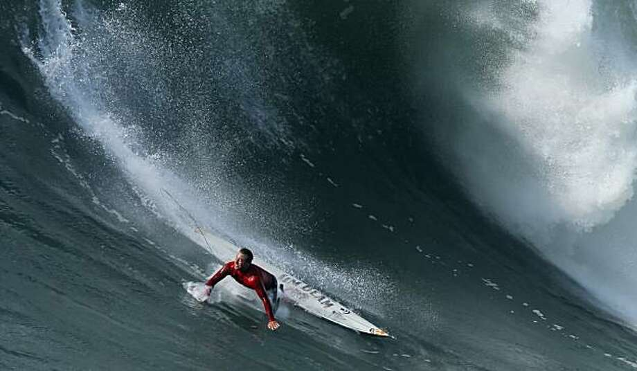 Anthony Tashnick wipes out in the final heat of the Mavericks Surf Contest. Surfers from around the globe braved the 50-foot-high swells at Mavericks Surf Contest in Half Moon Bay, Calif., on Saturday, February 13, 2010. Chris Bertish of South Africa was selected the winner. Photo: Carlos Avila Gonzalez, The Chronicle