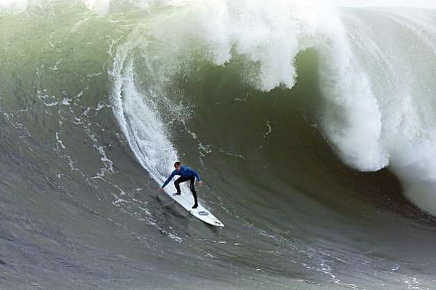 Ryan Seelback rides a wave in the sixth heat of the Mavericks Surf Contest. Surfers from around the globe braved the 50-foot-high swells at Mavericks Surf Contest in Half Moon Bay, Calif., on Saturday, February 13, 2010. Chris Bertish of South Africa was selected the winner. Photo: Carlos Avila Gonzalez, The Chronicle