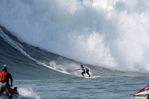 Dave Wassell rides a wave in the final heat of the Mavericks Surf Contest. Surfers from around the globe braved the 50-foot-high swells at Mavericks Surf Contest in Half Moon Bay, Calif., on Saturday, February 13, 2010. Chris Bertish of South Africa was selected the winner. Photo: Carlos Avila Gonzalez, The Chronicle