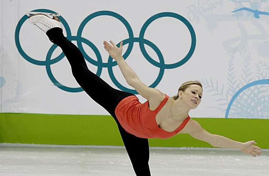 Ladies figure skater Joannie Rochette of Canada works on her routine during a practice session at the Vancouver 2010 Olympics in Vancouver, British Columbia, Sunday, Feb. 21, 2010. Rochette is practicing, only a few hours after learning of her mother's death. Therese Rochette, 55, had a massive heart attack after arriving in Vancouver on Saturday and was pronounced dead at a hospital in Vancouver, said David Baden, Rochette's agent. Rochette's father, Normand, broke the news to his daughter at the Olympicvillage early Sunday. The women's event begins Tuesday with the short program. Photo: Mark Baker, AP