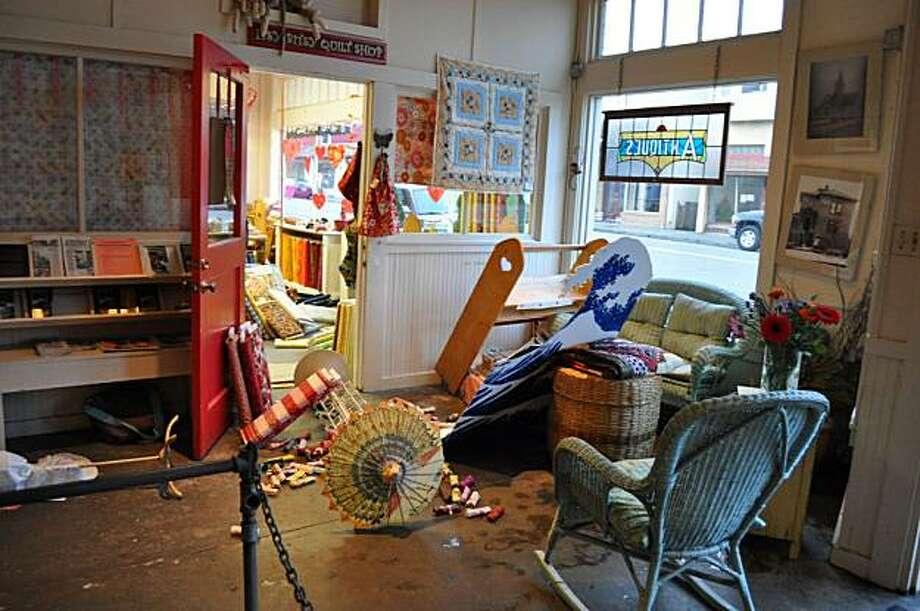 Damage shown at Itsy Bitsy Quilt Shop in after the 6.5 magnitude earthquake off the coast of Northern California on Saturday. Photo: Ferndale Enterprise, The Ferndale Enterprise