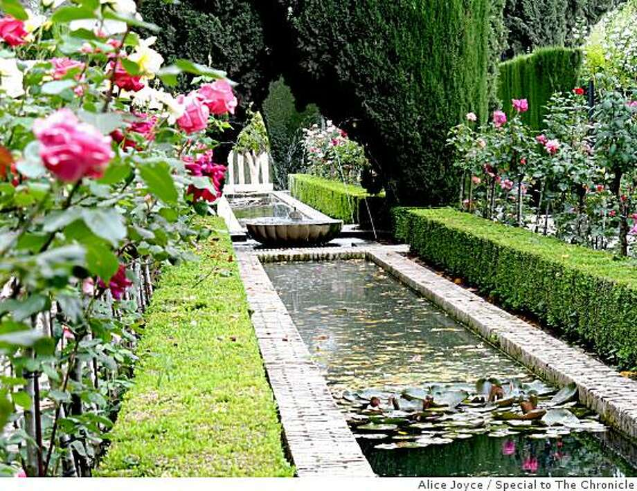 The Generalife embodies the paradise gardens of the Medieval Muslim sultans, its sheltered courtyards giving way to elongated canals animated by arching jets of water and flanked by luxuriant rose all�es. Photo: Alice Joyce, Special To The Chronicle