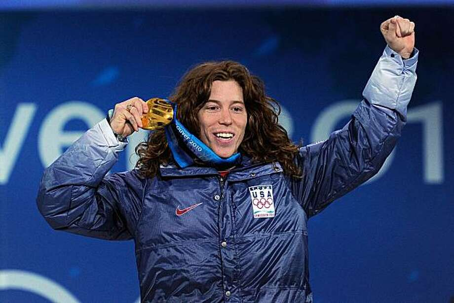 VANCOUVER, BC - FEBRUARY 18:  Shaun White of United States celebrates his gold medal during the medal ceremony for the Men's Halfpipe on day 7 of the Vancouver 2010 Winter Olympics at BC Place on February 18, 2010 in Vancouver, Canada. Photo: Kevork Djansezian, Getty Images