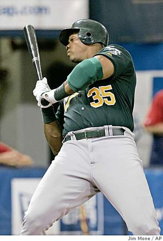 Oakland Athletics' Frank Thomas rears back from a close pitch by Minnesota Twins' Francisco Liriano in the first inning of a baseball game Wednesday, Aug. 20, 2008 in Minneapolis. Photo: Jim Mone, AP