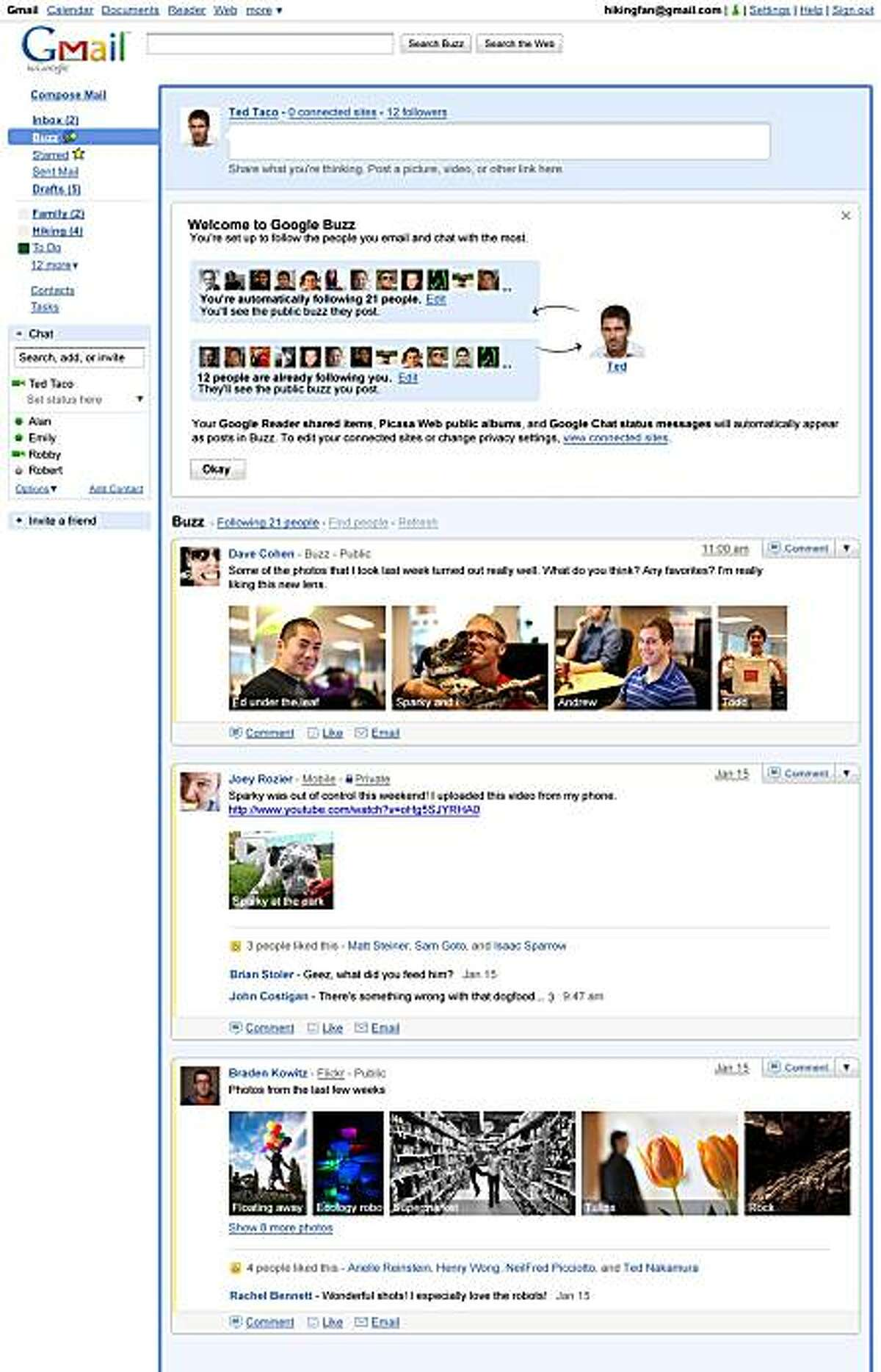 """In this screen shot provided by Google Inc., the company's new """"Google Buzz"""" feature for Gmail is shown. The feature unveiled Tuesday, Feb. 9, 2010, will enable Gmail users to create status updates on Google Buzz and read and comment on the updates postedby their friends. Gmail's Google Buzz feature was assailed by privacy groups because users' followers were preselected based on those they often e-mail or chat with."""
