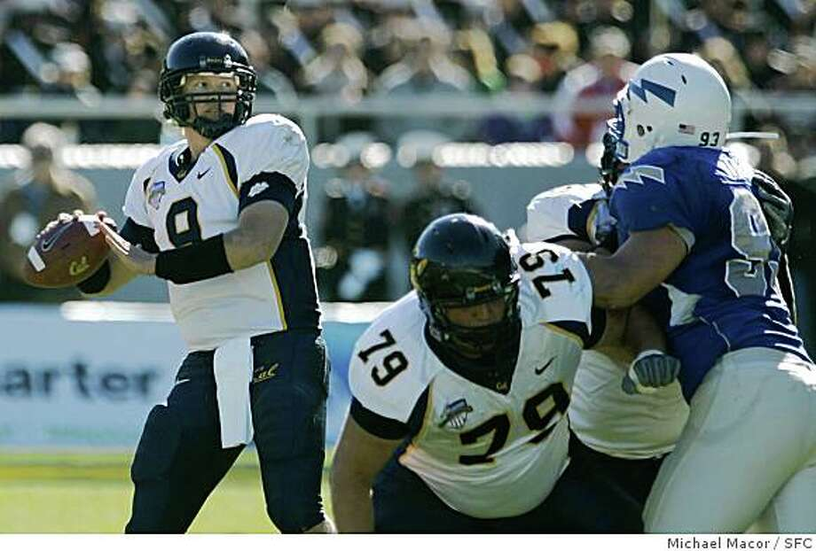 California Golden Bear quarterback, Nate Longshore (9) played the 1st quarter and not much more untilo California Golden Bear quarterback, Kevin Riley (13) replaced him.   NCAA Football, the Bell Helicopter Armed Forces bowl, California Golden Bears take on the Air Force Falcons at  Amon Carter  Stadium, Fort Worth, Texas. Photo: Michael Macor, SFC