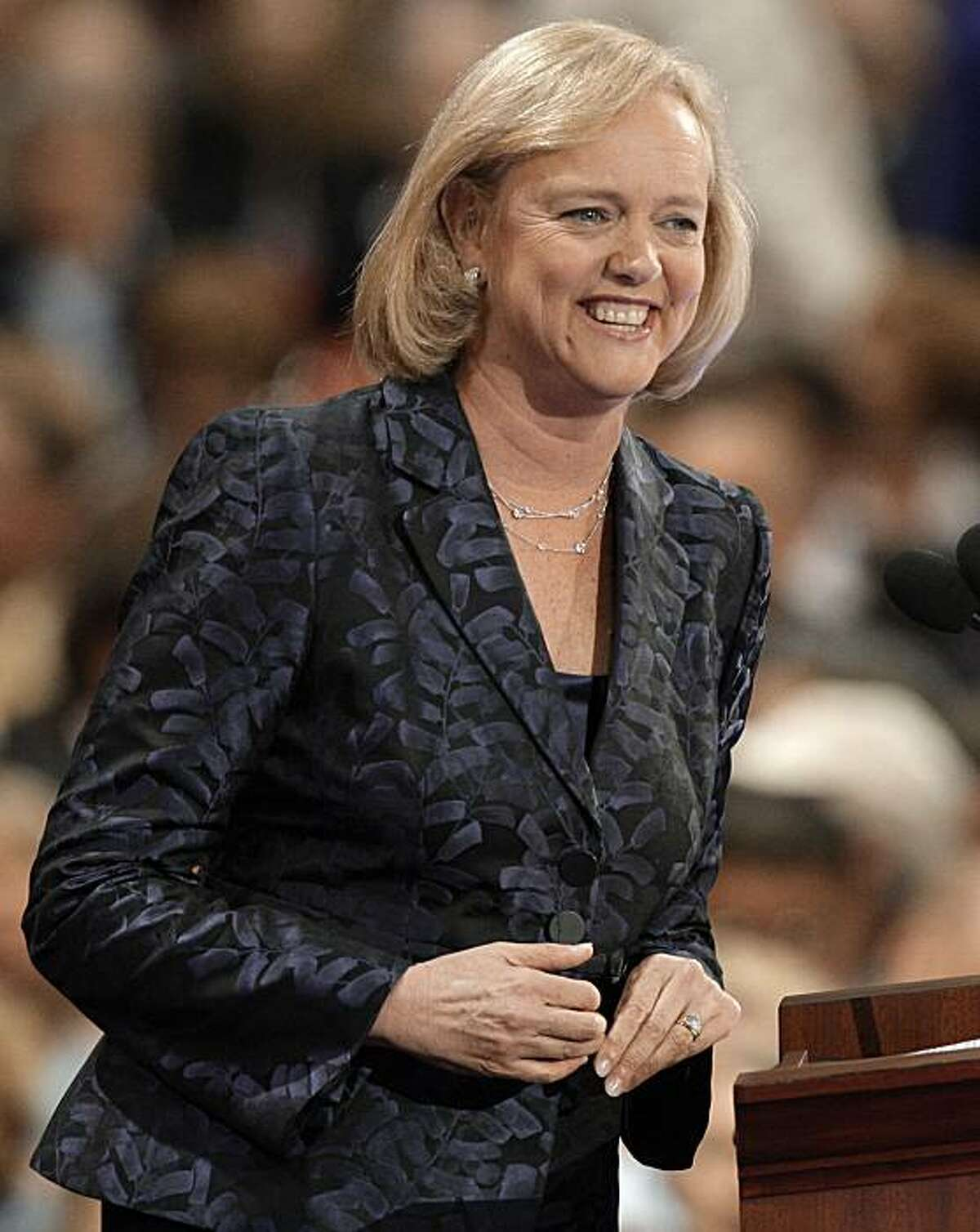 **FILE** In this Sept. 3, 2008 file photo, Meg Whitman, national co-chair for McCain 2008 and former president and CEO of eBay, speaks at the Republican National Convention in St. Paul, Minn. Capping a year long tour on the political stage, Whitman takes the first official step in her bid to seek the Republican nomination for California governor. (AP Photo/Paul Sancya, File)