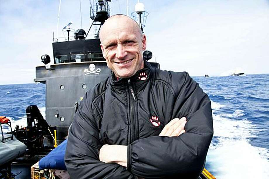 In this Feb. 10, 2010, photo released by Sea Shepherd Conservation Society, Captain Peter Bethune poses onboard the MV Steve Irwin, in the Southern Ocean. Bethune, an anti-whaling activist with the U.S.-based Sea Shepherd group, was being held in custodyon board a Japanese whaling vessel Tuesday, Feb. 16, 2010, after secretly boarding it the day before, the whalers said. Photo: Barbara Veiga, AP