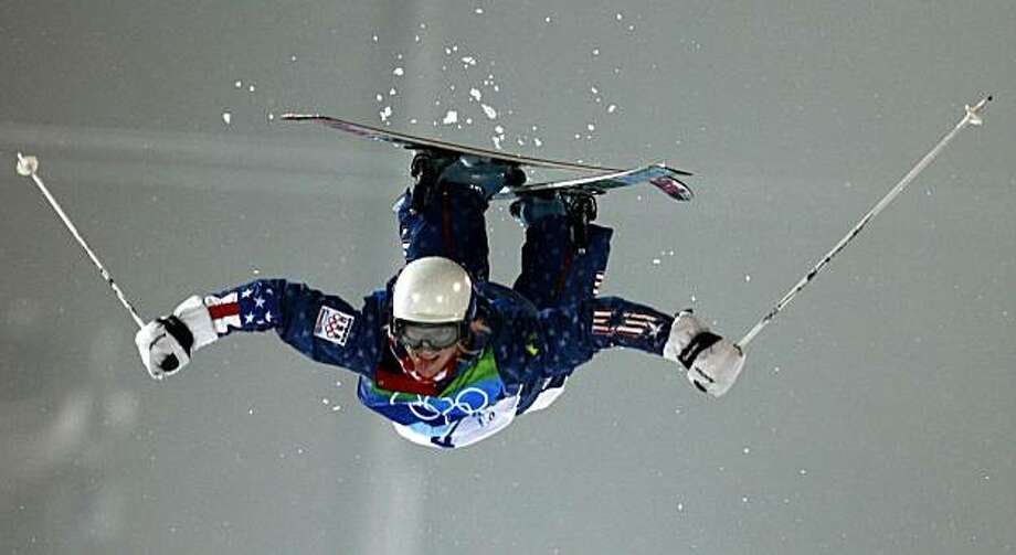 Bronze medalist Shannon Bahrke flies through the air in the final round of the womens mogul competition of the 2010 WInter Olympic Games at Cypress Mountain ski area in West Vancouver, B.C., on Friday, Feb. 12, 2010. Paul Chinn/Chronicle Olympic Bureau Photo: Paul Chinn, The Chronicle