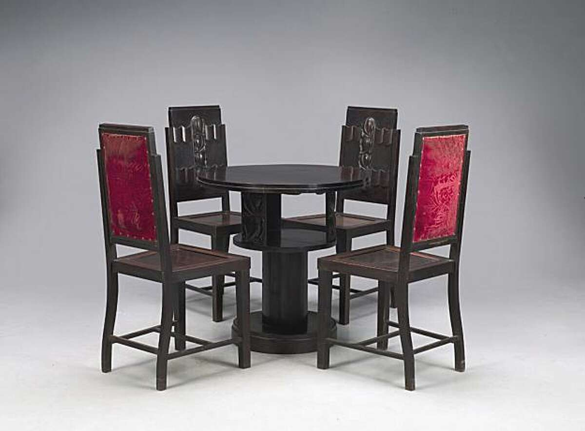 Round table and four chairs, 1920-1935. Hardwood. Private collection. PERMISSION IS GRANTED TO REPRODUCE THIS IMAGE SOLELY IN CONNECTION WITH A REVIEW OR EDITORIAL COMMENTARY ON THE SHANGHAI EXHIBITION AT THE ASIAN ART MUSEUM FEBRUARY 12 - SEPTEMBER 5, 2010. ALL OTHER REPRODUCTIONS ARE STRICTLY PROHIBITED WITHOUT THE PRIOR WRITTEN CONSENT OF THE COPYRIGHT HOLDER AND/OR MUSEUM. Round table and four chairs, 1920-1935. Hardwood. Private collection.