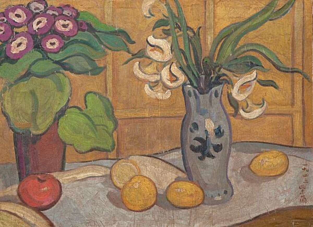 Still life, 1943 By Guan Zilan (Chinese, 1903-1986). Oil on silk. Private collection. cat. no. 57. PHOTO: Courtesy of the Asian Art Museum Still life, 1943 By Guan Zilan (Chinese, 1903-1986). Oil on silk. Private collection. cat. no. 57. PHOTO: Courtesy of the Asian Art Museum