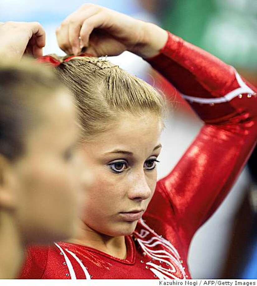 United States' Shawn Johnson looks on during the women's team final of the artistic gymnastics event of the Beijing 2008 Olympic Games in Beijing on August 13, 2008. Photo: Kazuhiro Nogi, AFP/Getty Images