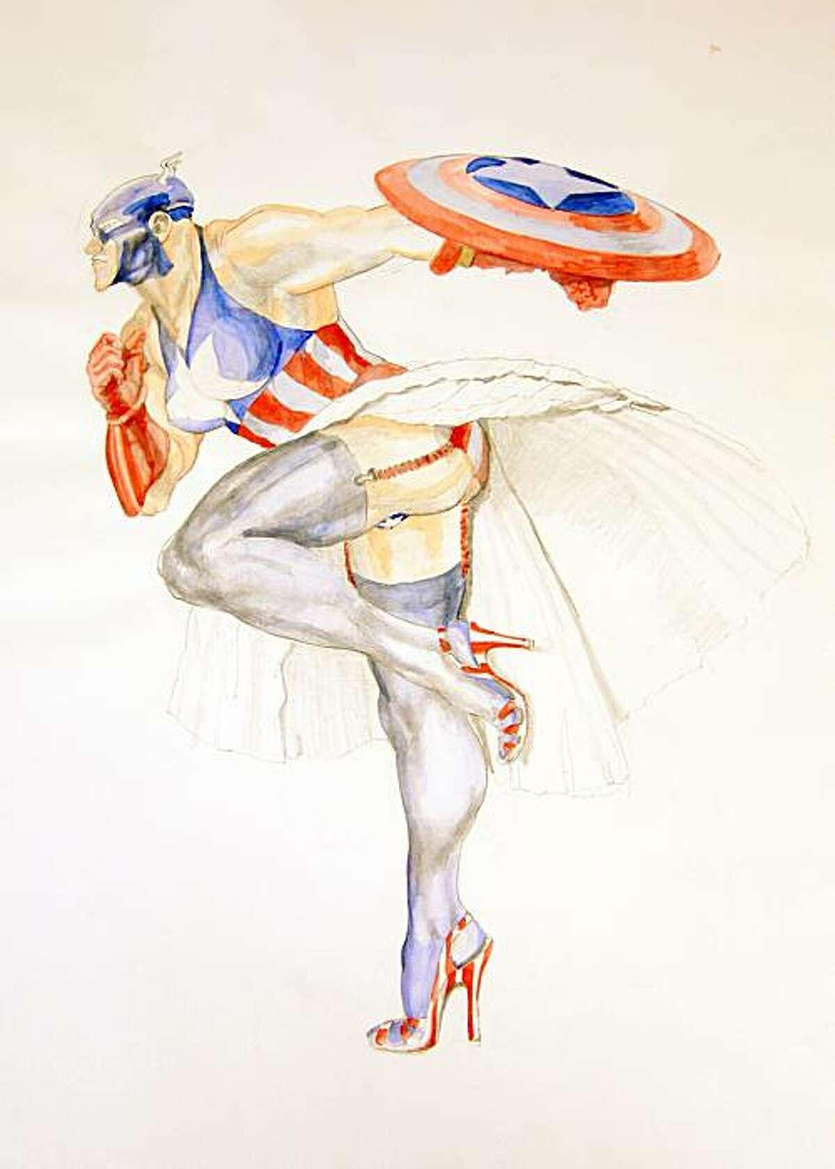 """Margaret Harrison's """"Captain America (2)."""""""
