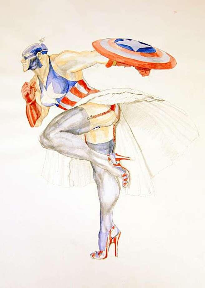"""Margaret Harrison's """"Captain America (2)."""" Photo: Intersection For The Arts"""