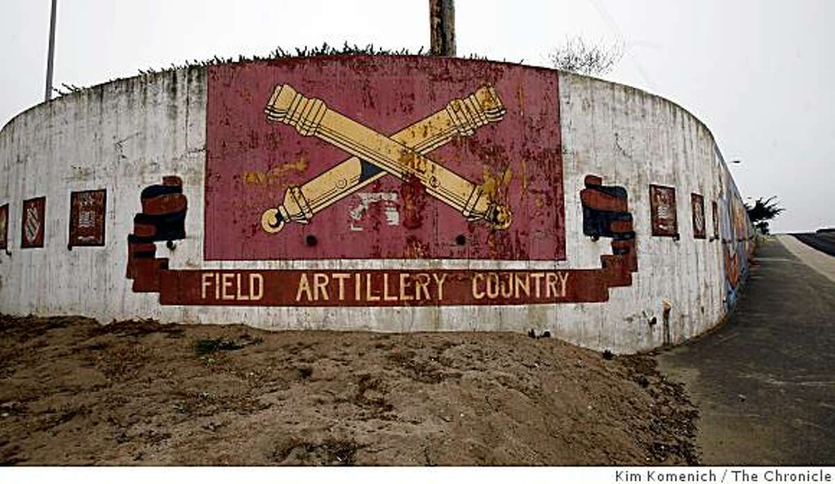 A wall painted with military signage is seen on Tuesday, Aug. 12, 2008 on the California State University Monterey Bay campus as officials announced the turning over of more acreage on Fort Ord, for public use.