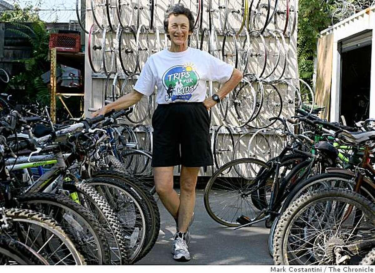 Jefferson Award winner Marylin Price poses inside the Trips For Kids bike thrift in San Rafael, Calif., on Wednesday, August 13, 2008.