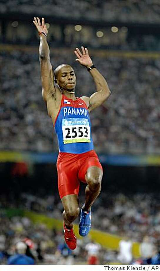 Panama's Irving Saladino makes an attempt to win the gold in the men's long jump during the athletics competitions in the National Stadium  at the Beijing 2008 Olympics in Beijing, Monday, Aug. 18, 2008. (AP Photo/Thomas Kienzle) Photo: Thomas Kienzle, AP