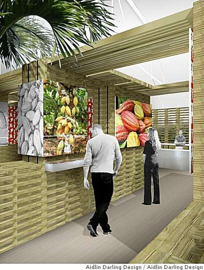 A rendering depicting a pavilion dedicated to the story of cacao and how came to be made into the chocolate we eat today by Aidlin Darling Design, an architecture firm in San Francisco that is one of 15 participating in Slow Food Nation's celebration at Fort Mason from august 29 through September 1. Photo: Aidlin Darling Design