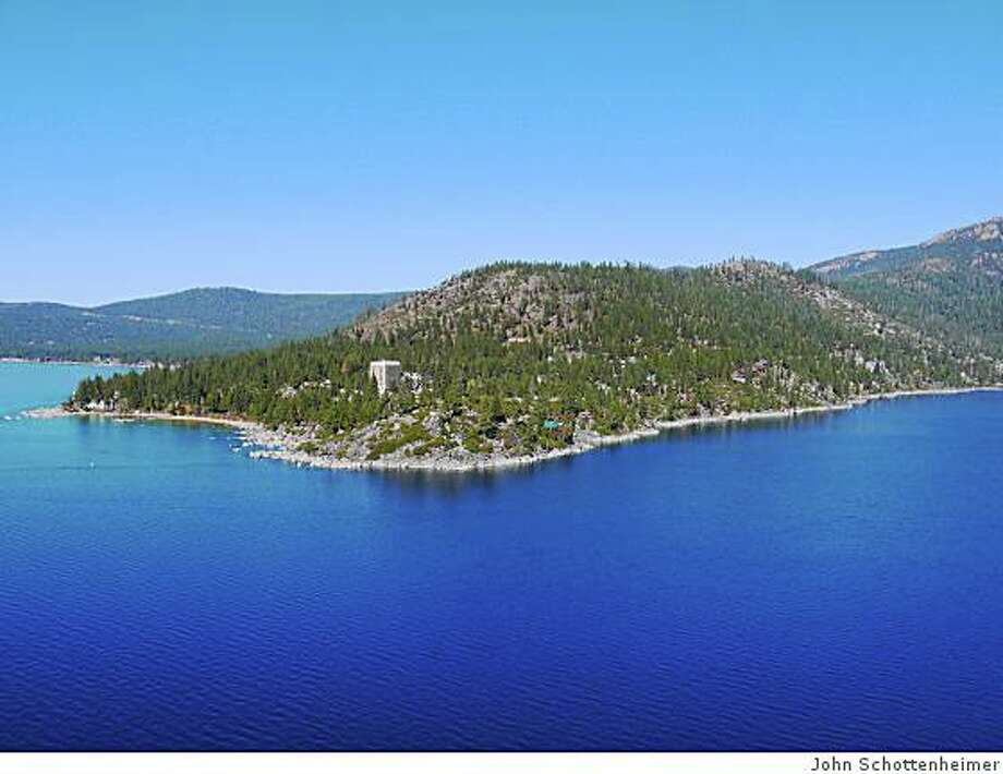 The old Stack estate is for sale. Within walking distance to the CalNeva lodge (the white mid-rise), the estate comprises 1800 feet of shoreline and 12 acreas on Lake Tahoe's North Shore. Photo: John Schottenheimer