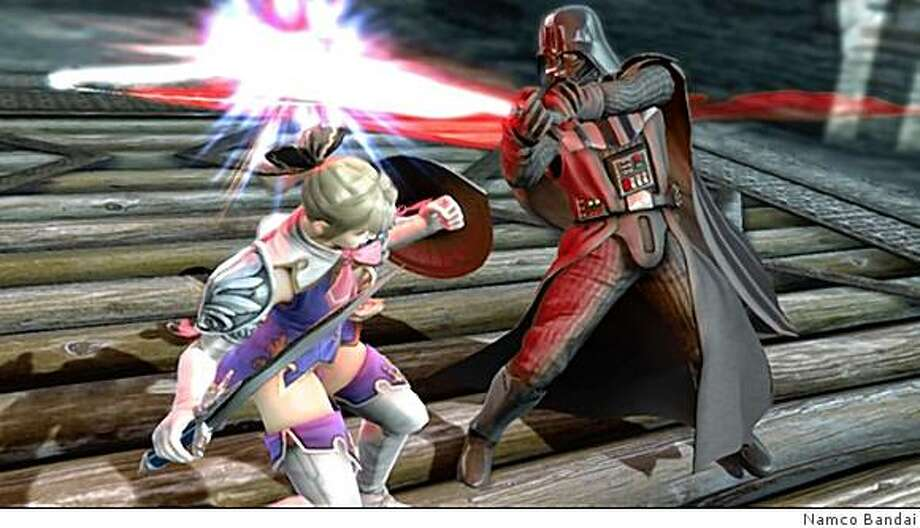 Darth Vader fights the Greek warrior Cassandra in Soul Calibur IV. No, it doesn't make any sense. But it looks neat. Photo: Namco Bandai
