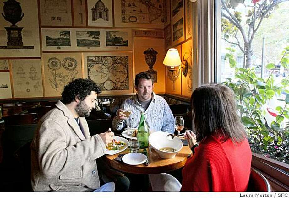 Alain Mahmoud, Jeff Ralls and Boo Mahmoud (left to right) dine at Fly Trap in San Francisco, Calif. on Saturday, August 9, 2008.  The restaurant was taken over by chef Hoss Zare and recently reopened. Photo: Laura Morton, SFC