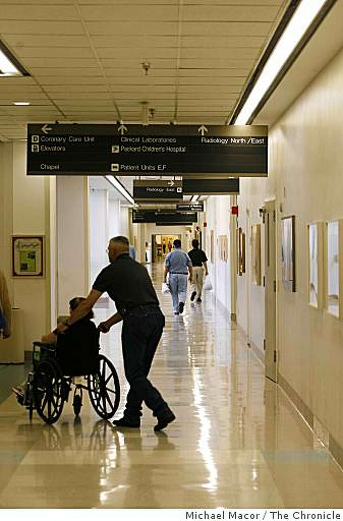 Long hallways that run through the Stanford Hospital in Palo Alto, Calif.Photo By Michael Macor/ The Chronicle