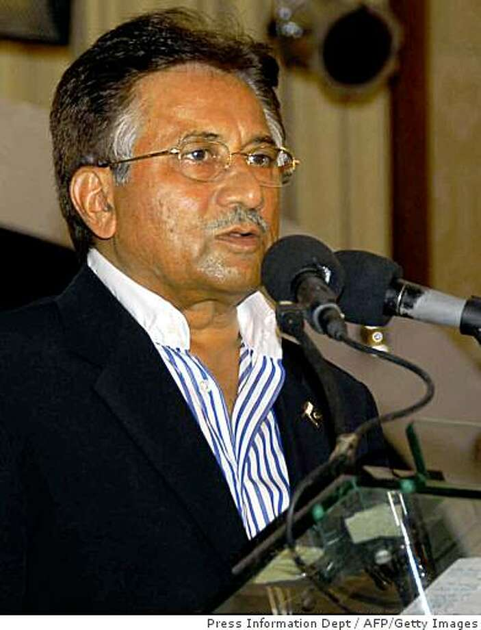Pakistani President Pervez Musharraf addresses the gathering of Independence Day ceremony in Islamabad on August late 13, 2008. Musharraf on 13 August called for political reconciliation in Pakistan, in an apparent appeal to opponents who are gearing up to impeach the key US anti-terror ally.         AFP PHOTO/HO/ PRESS INFORMATION DEPARTMENT----RESTRICTED TO EDITORIAL USE------GETTY OUT (Photo credit should read PRESS INFORMATION DEPARTMENT/AFP/Getty Images) Photo: Press Information Dept, AFP/Getty Images