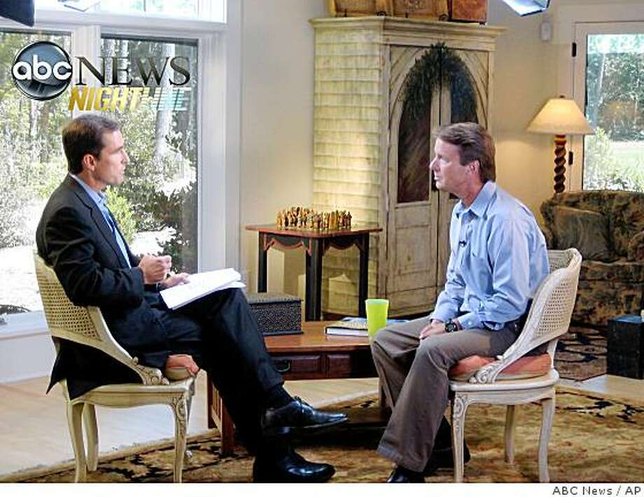 In this image taken from video and released by ABC News, Bob Woodruff interviews John Edwards Friday, Aug. 8, 2008 in Chapel Hill, N.C. The former North Carolina senator, who was the Democratic vice presidential nominee in 2004, confessed to ABC News that he had lied repeatedly about the affair with 42-year-old Rielle Hunter. (AP Photo/ABC News)  ** NO SALES ** Photo: ABC News, AP