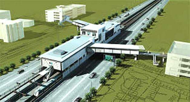 CAPTION: Rendering of the new West Dublin/Pleasanton BART Station, with pedestrian bridges over Interstate-580. courtesy BART. ONLY USE SMALL. Photo: Bart