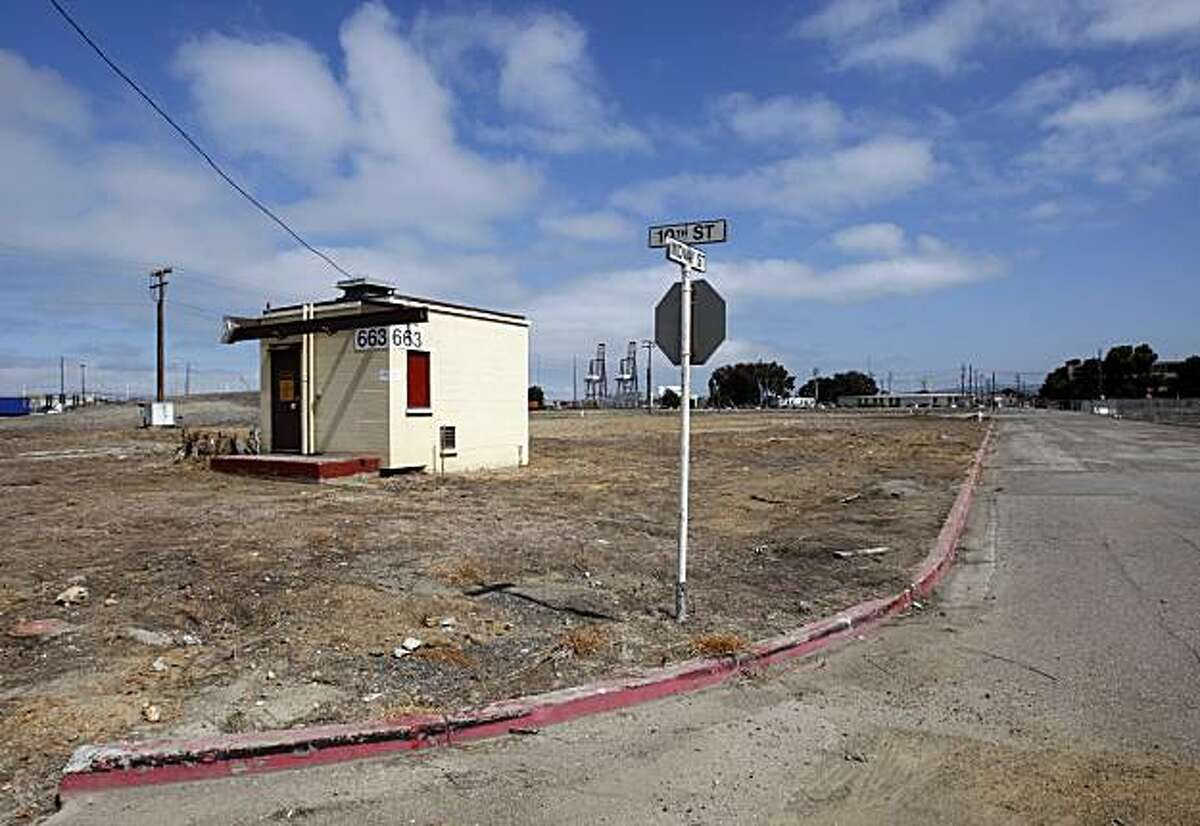 A desolate corner of Midway and Tenth streets in the former Oakland Army Base is seen near the port in Oakland, Calif., on Friday, July 10, 2009. The area, currently under the Port of Oakland's jurisdiction, is scheduled for redevelopment.