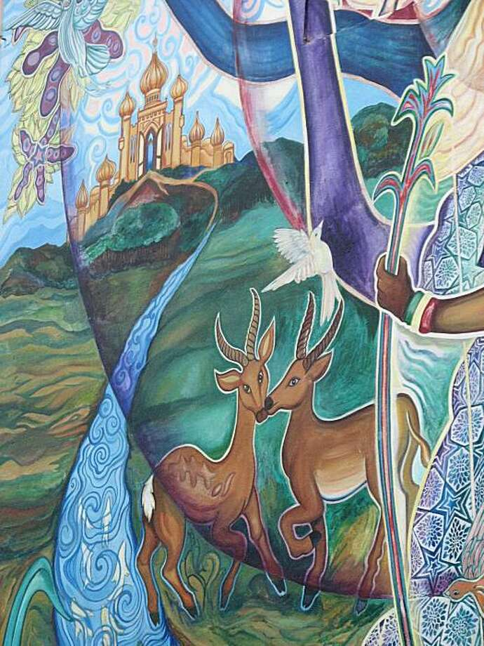 Once named LeConte School, the Leonard R. Flynn Elementary School on the edge of Bernal Heights neighborhood pairs a 1924 John Galen Howard design with a florid community art mural from 1977 done by artists who would later form the Precita Eyes collaborative Photo: John King, The Chronicle