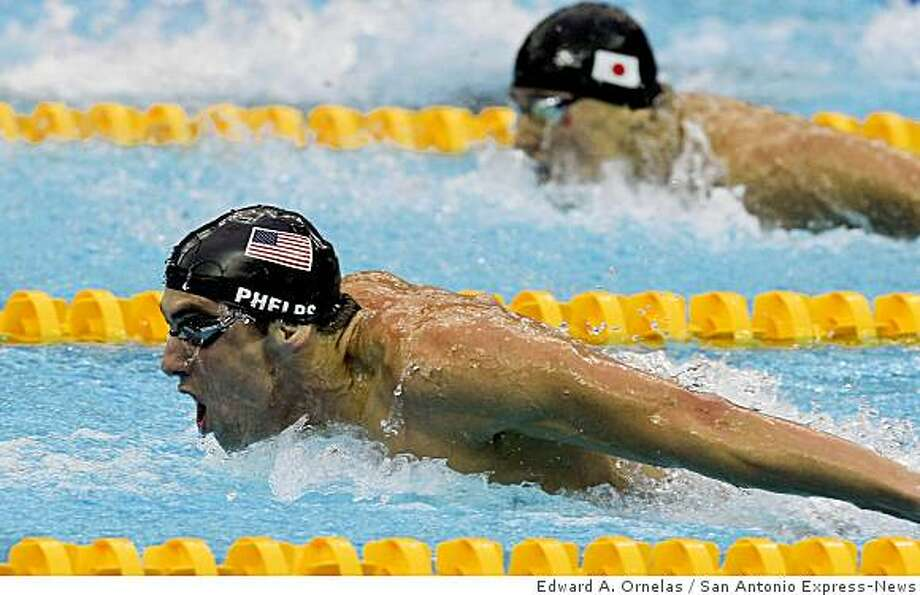 USA's Michael Phelps swims in the Men's 200m Butterfly at the 2008 Beijing Olympics Wednesday Aug 13, 2008 in Beijing, China. Phelps finished in 1st place winning his fourth gold. Photo: Edward A. Ornelas, San Antonio Express-News