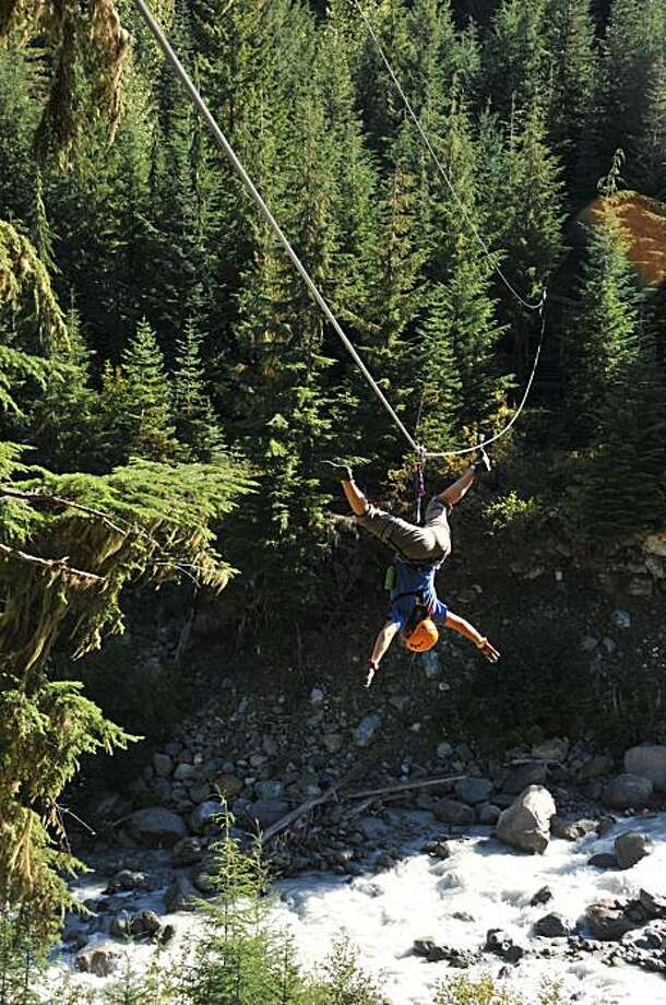 Flying above a canyon on the Whistler Zip Trek. Photo: Margo Pfeiff, Special To The Chronicle