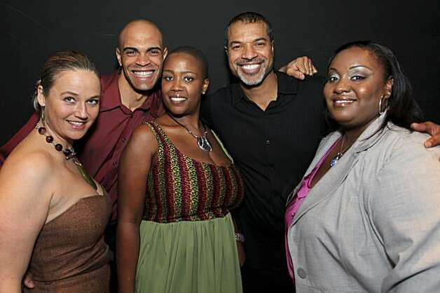 Host Sterling James of KBLX radio, model Jordan, Tracie Collins (Executive Producer and Founder of Kiss the Curves), Charleston Pierce, Runway Choreographer, Renee D. Jennings, CEO of R. Media Group & Publicist for Kiss the Curves. at the Kiss the Curves  plus-size fashion gala in Oakland Feb. 6. Photo: NaNa, 510 Media