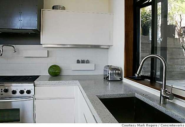 The concrete and glass countertops of Mike McDonald's environmentally friendly Mararido House in the Oakland Hills. Photo: Courtesy Mark Rogero, Concreteworks