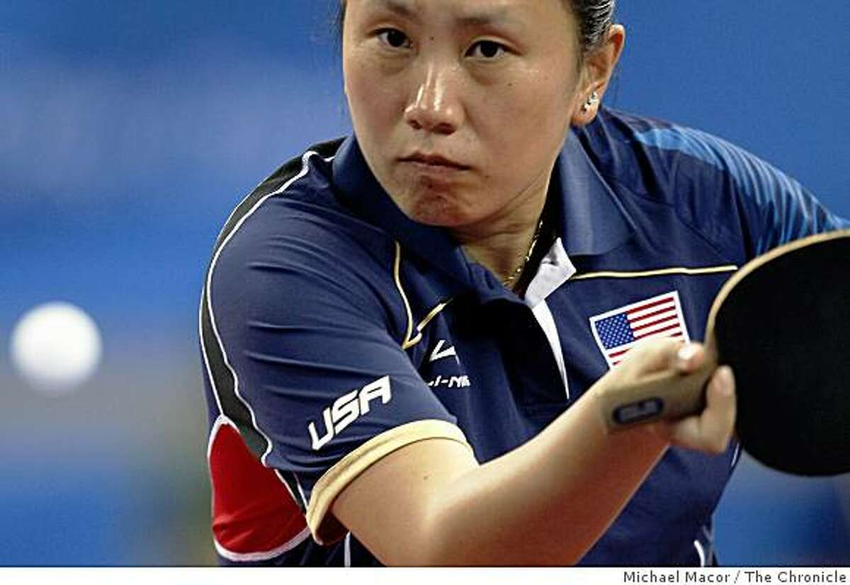 Team USA table Tennis player, Jun Gao returns a shot by opponet Bose Kaffo, of Nigera, Gao went on the defeat Kaffo to help her team advance to the next round, onThursday Aug. 14, 2008 at the 2008 Olympics in Beijing, China.