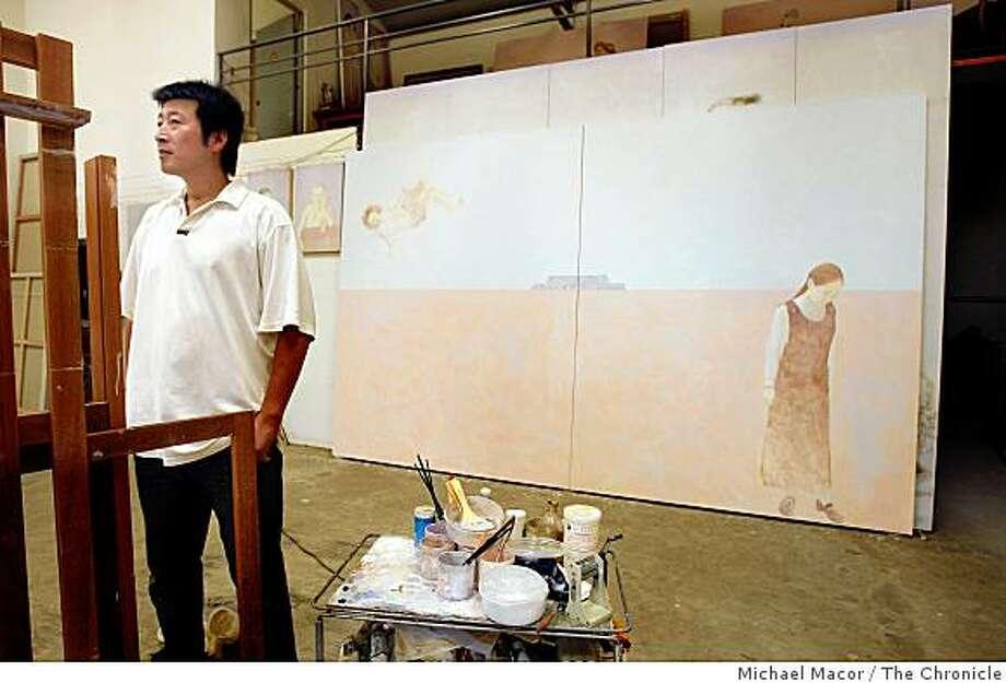 Local Beijing, China, artist, Yusheng Wen with a work in progress inside his Suo Jia Countryside art studio, on Tuesday Aug. 04, 2008, where he creates original artwork. Photo: Michael Macor, The Chronicle