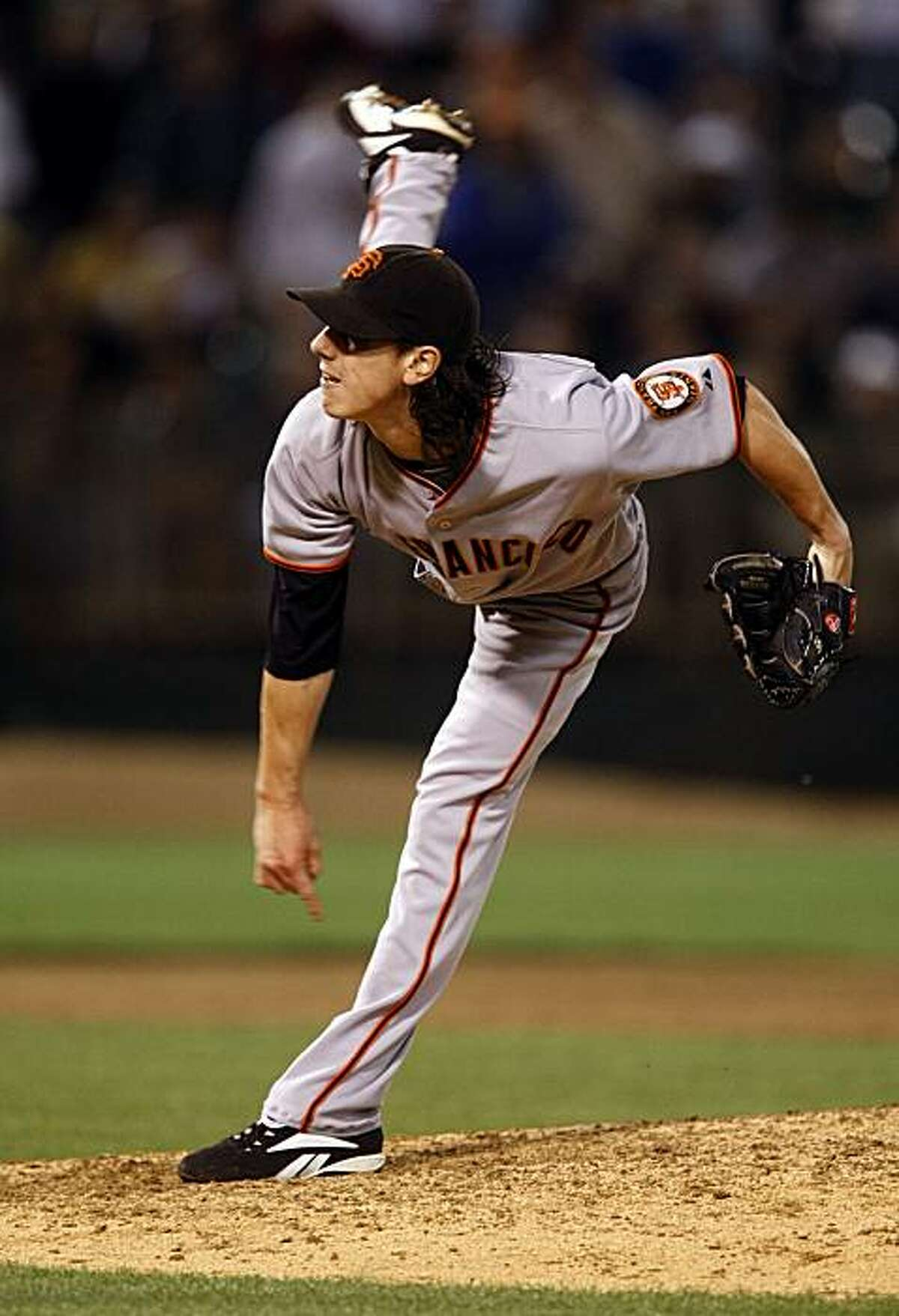Giants Tim Lincecum pitched a complete game for the win and a 4-1 final score. The San Francisco Giants take on the Oakland Athletics in the Battle of the Bay series on Tuesday June 23, 2009, in Oakland , Calif.