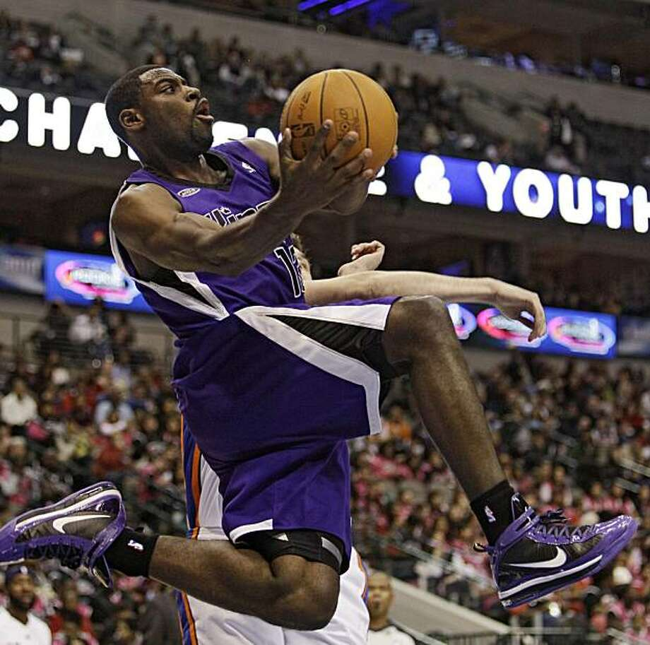 Sacramento Kings' Tyreke Evans goes up for a shot in the second half of the Rookie Challenge game during the NBA basketball All-Star Weekend Friday, Feb. 12, 2010, in Dallas. Photo: Eric Gay, AP