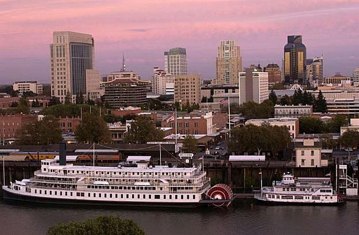 The charming Delta King overlooks the Sacramento River.