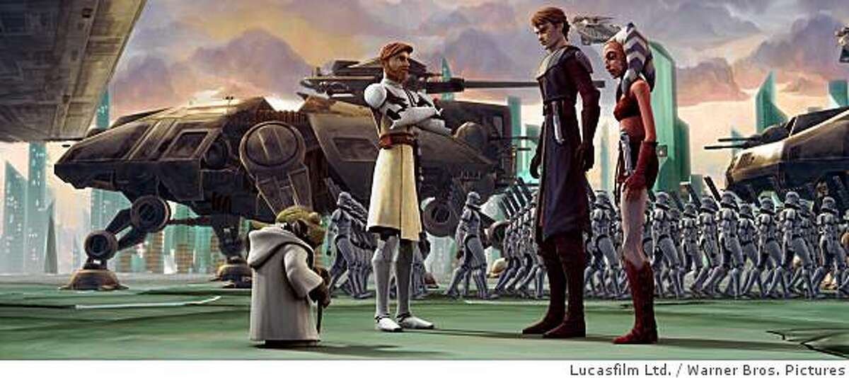 Anakin Skywalker and Ahsoka Tano receive their orders from Yoda and Jedi Knight Obi-Wan Kenobi in a scene from STAR WARS: THE CLONE WARS.