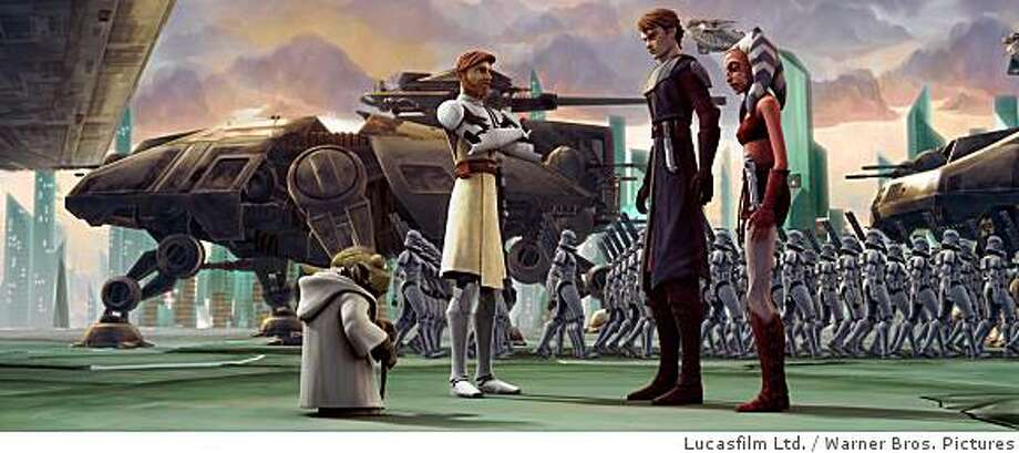 Anakin Skywalker and Ahsoka Tano receive their orders from Yoda and Jedi Knight Obi-Wan Kenobi in a scene from STAR WARS: THE CLONE WARS. Photo: Lucasfilm Ltd., Warner Bros. Pictures