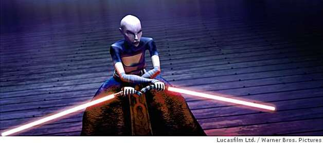 Asajj Ventress, disciple of the dark side and sworn enemy of the Jedi, prepares to fight in a thrilling moment from STAR WARS: THE CLONE WARS. Photo: Lucasfilm Ltd., Warner Bros. Pictures