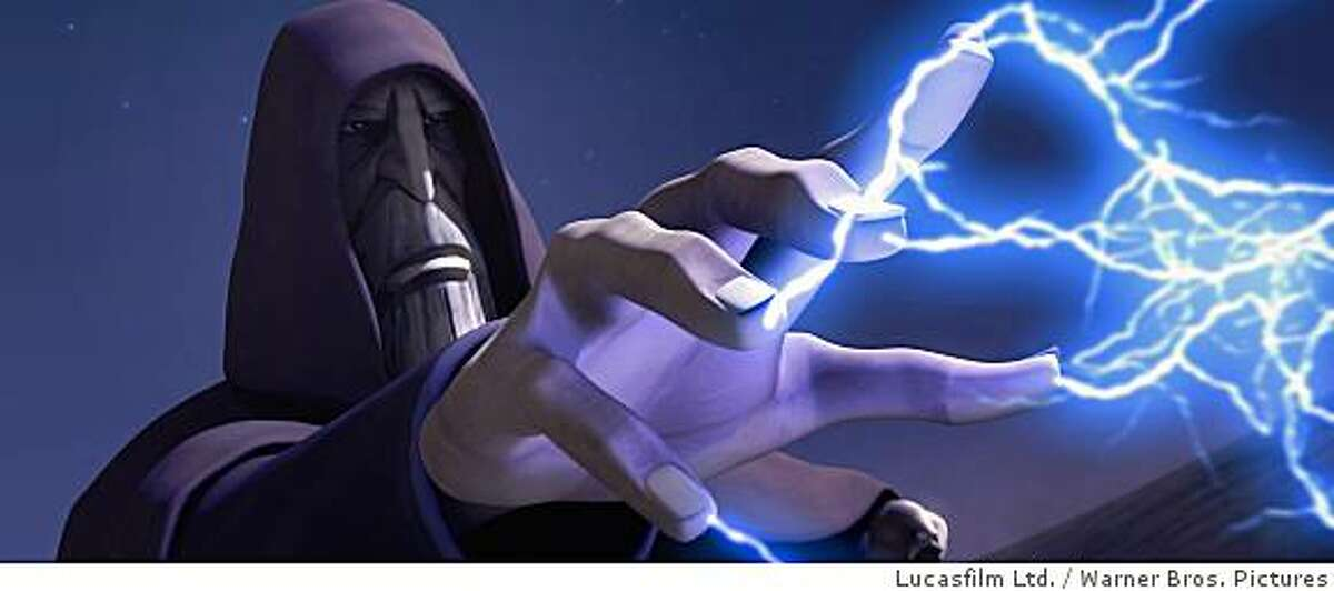 Count Dooku unleashes dark side lightning in a scene from STAR WARS: THE CLONE WARS.