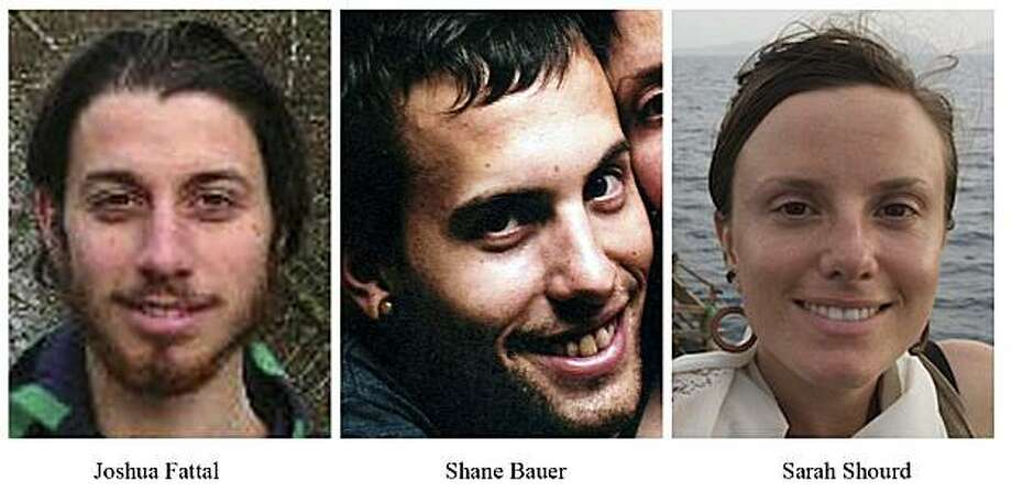FILE -This combination of undated file photos released by freethehikers.org shows, from left; Joshua Fattal, Shane Bauer, and Sarah Shourd. Iranian president Mahmoud Ahmadinejad suggested on Tuesday, Feb. 2, 2010 that Iran would release three jailed U.S. hikers in exchange for Iranians currently serving in American prisons. (AP Photo/freethehikers.org, File)  NO SALES Photo: AP