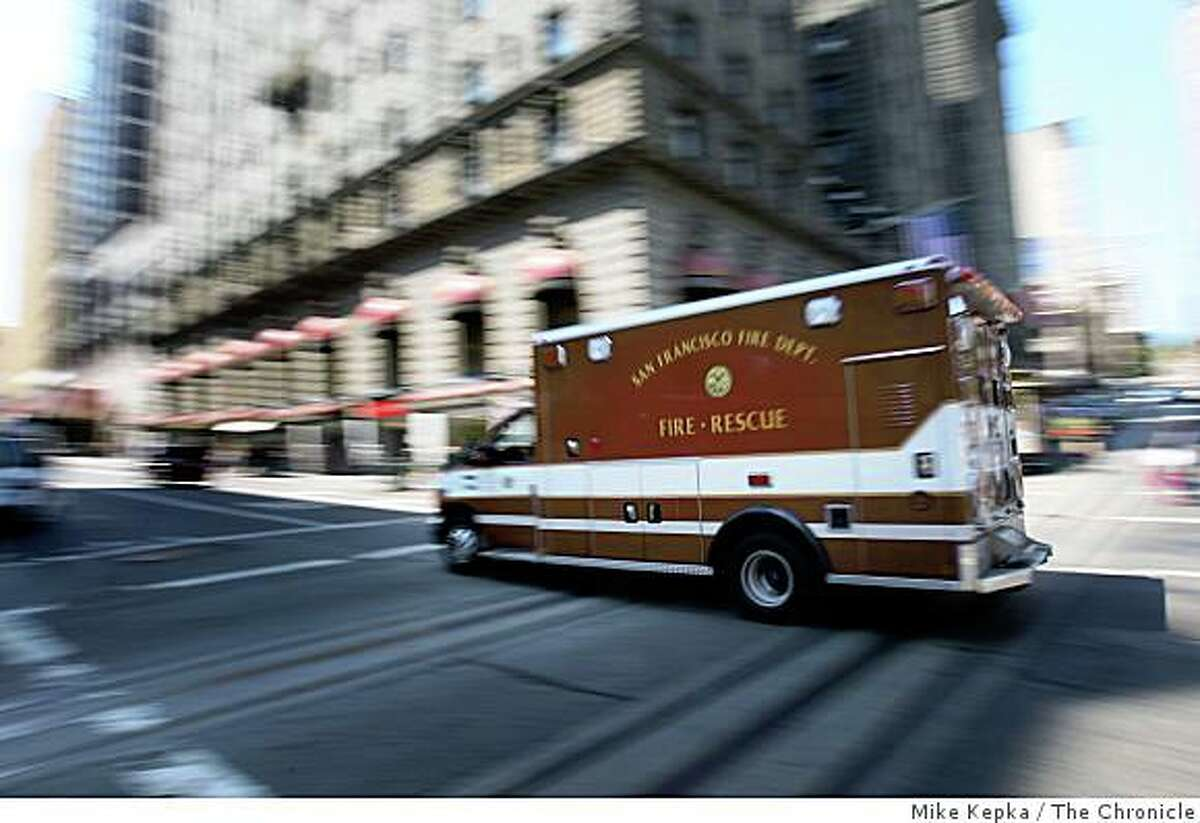 Dynamically deployed ambulance M88 heads to the hospital with a patient in tow on Wednesday August 13, 2008 in San Francisco Calif.