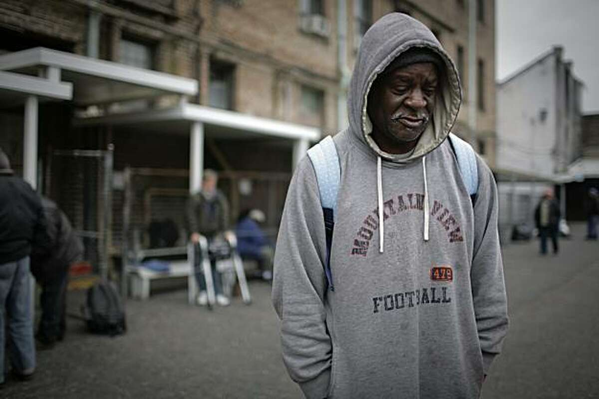 Alvin Atkins talks at the homeless shelter where he lives in New Orleans February 1, 2010.