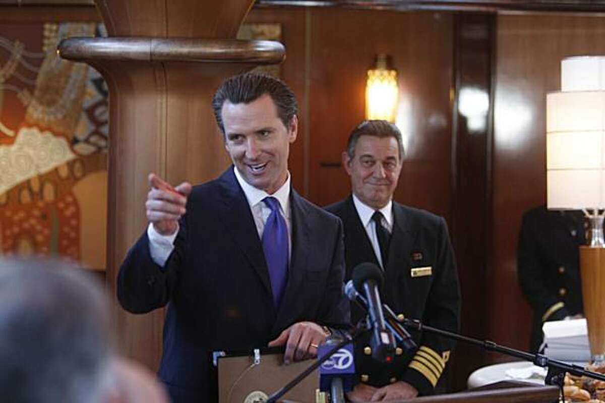 San Francisco Mayor Gavin Newsom excepts a plaque honoring San Francisco's hospitality to Cunard's newest luxury liner, the Queen Victoria, on Wednesday January 27, 2010 in San Francisco, Calif. The 11 deck ship, here for a one-day-only visit, has over 1,000 stateroom, a Royal Theater, a grand ballroom, and restaurants galore.